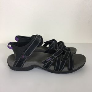 Teva Grey and Purple Velcro Strap Sandals